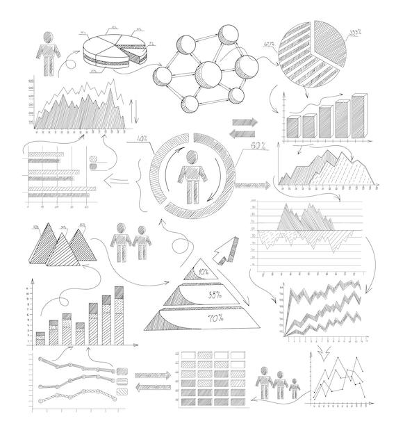 Schizzo elementi infographic Vettore gratuito