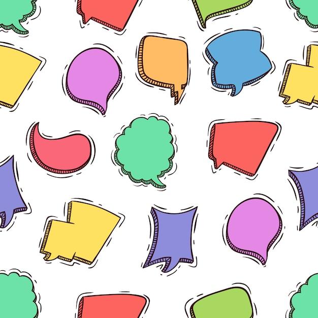 Schizzo o doodle stile di fumetti senza cuciture Vettore Premium