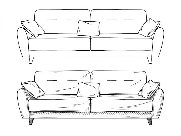 Schizzo realistico di divani Vettore Premium