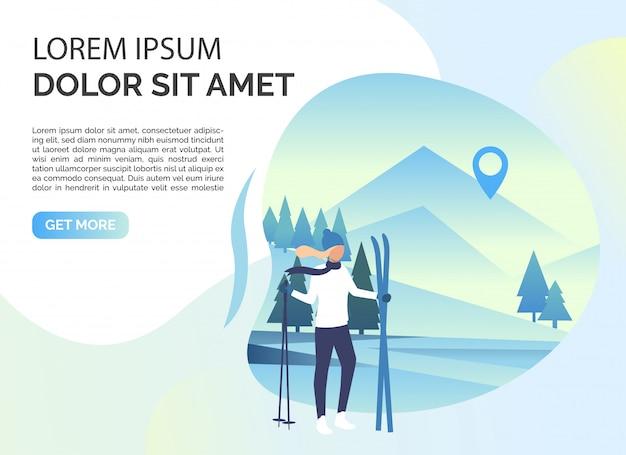 Sciatore donna, paesaggio innevato e testo di esempio Vettore gratuito
