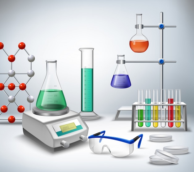 Scienza chimica e attrezzature di ricerca medica Vettore gratuito