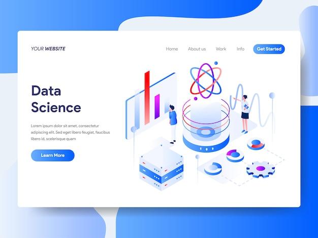 Scienza dei dati isometrica per pagina del sito web Vettore Premium
