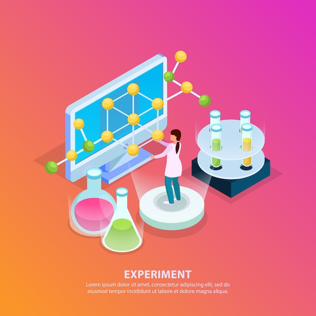 Scienza ricerca isometrica bagliore sfondo con testo modificabile provette molecola modello computer e carattere umano Vettore gratuito
