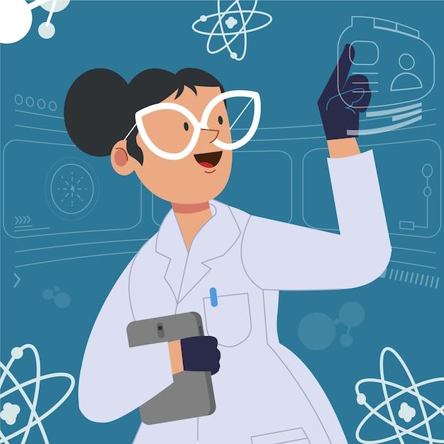 Scienziata con gli occhiali in laboratorio Vettore gratuito