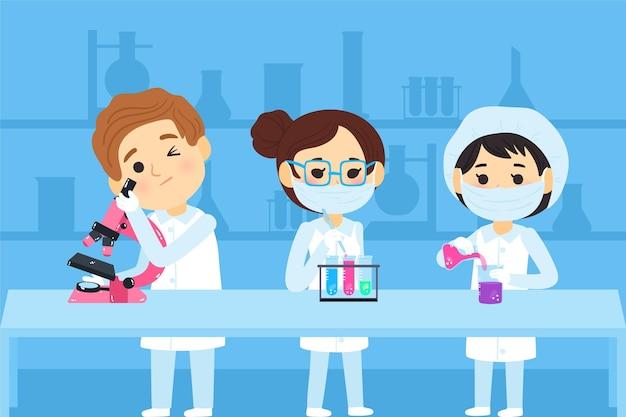 Scienziati che lavorano con prodotti chimici Vettore gratuito
