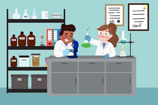 Scienziati che lavorano in laboratorio Vettore gratuito