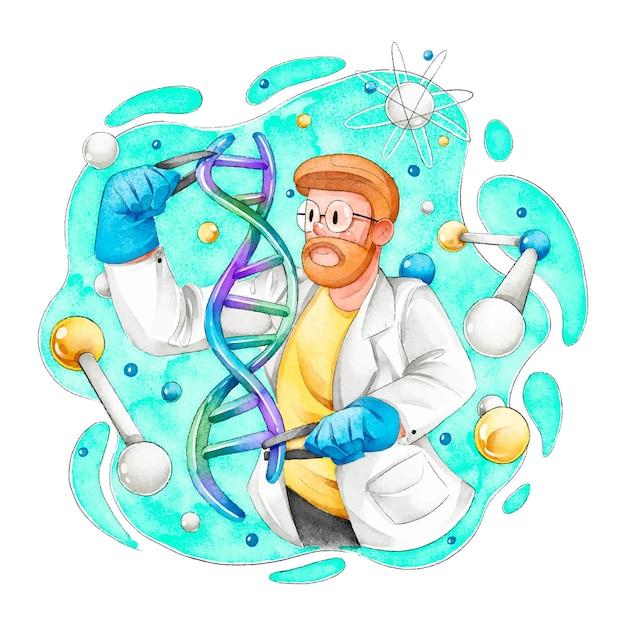 Scienziati in possesso di molecole di dna Vettore gratuito