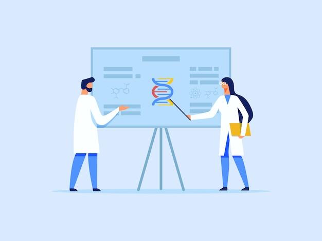 Scienziati o ricercatori che analizzano la molecola del dna Vettore Premium