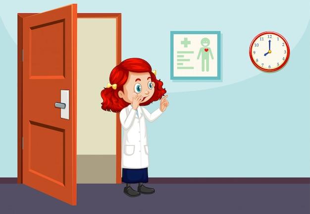 Scienziato che cammina in aula Vettore Premium