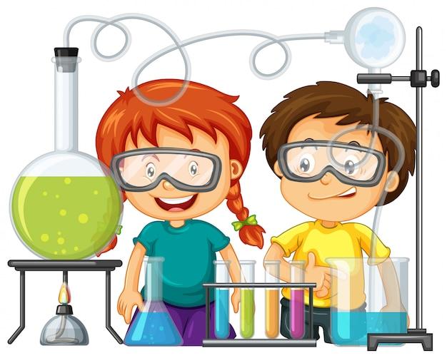 Scienziato che fa esperimento nel laboratorio di scienze Vettore gratuito