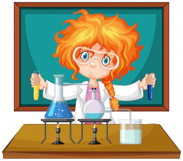 Scienziato che lavora con strumenti scientifici in laboratorio Vettore Premium