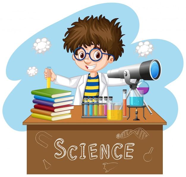 Scienziato che lavora con strumenti scientifici in laboratorio Vettore gratuito