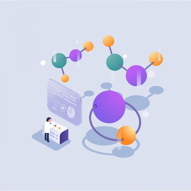 Scienziato che lavora in laboratorio in stile isometrico Vettore Premium