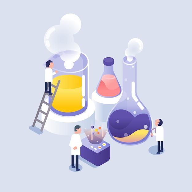 Scienziato che lavora in laboratorio Vettore Premium