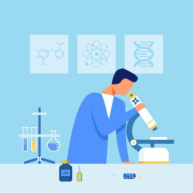 Scienziato examining drugs sample al microscopio Vettore Premium