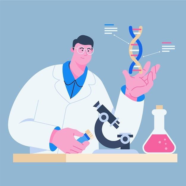 Scienziato in possesso di molecole di dna Vettore gratuito