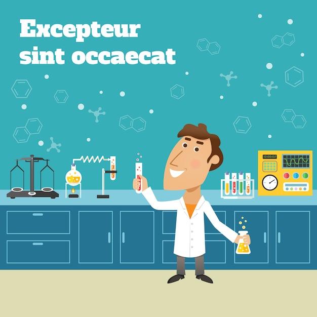 Scienziato nel laboratorio di ricerca di istruzione di scienza con le boccette e l'illustrazione di vettore del manifesto dell'attrezzatura di laboratorio Vettore gratuito