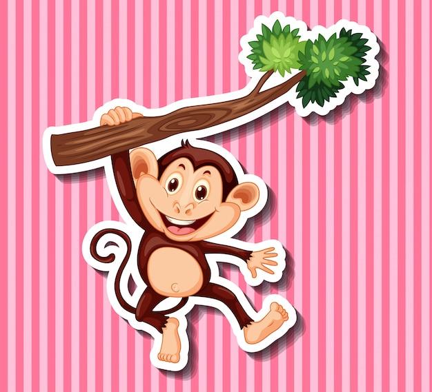 Scimmia che appende sul ramo Vettore gratuito