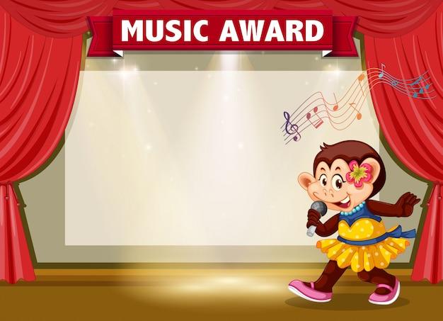 Scimmia che canta sul palco Vettore gratuito