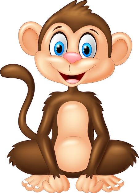 Scimmia del fumetto che si siede sulla priorità bassa bianca Vettore Premium