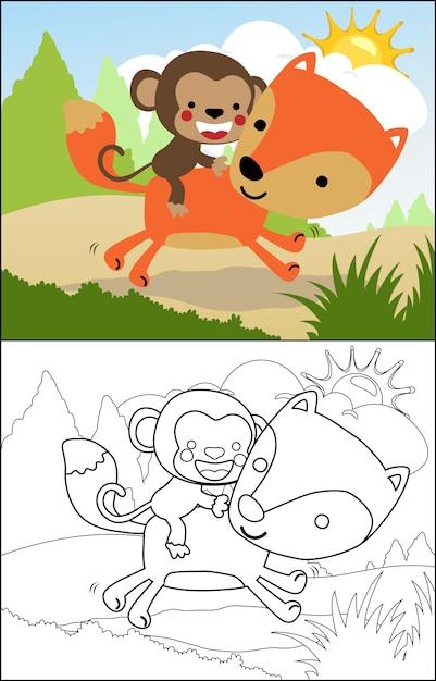 Scimmia fumetto equitazione volpe Vettore Premium