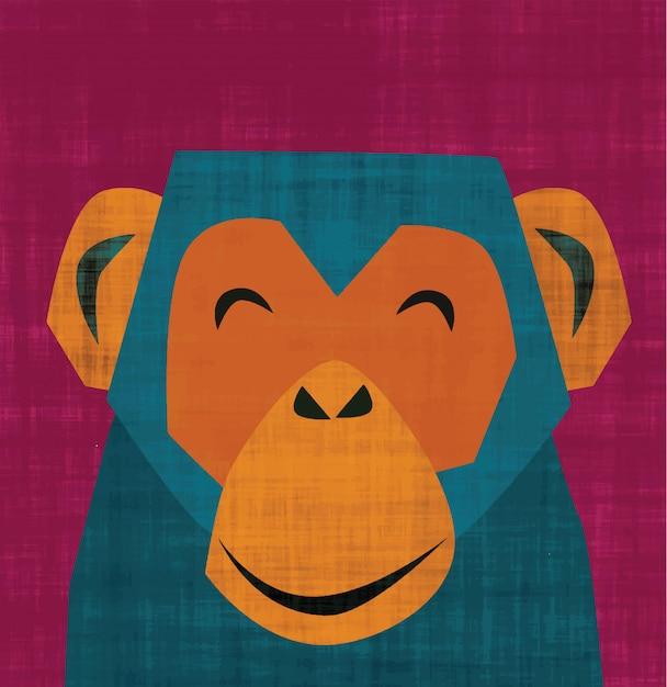 Scimmia sorridente Vettore Premium