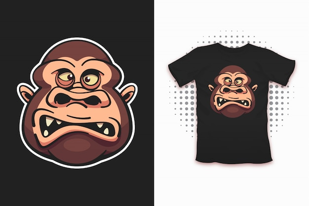 Scimmia stampata per la progettazione di t-shirt Vettore Premium