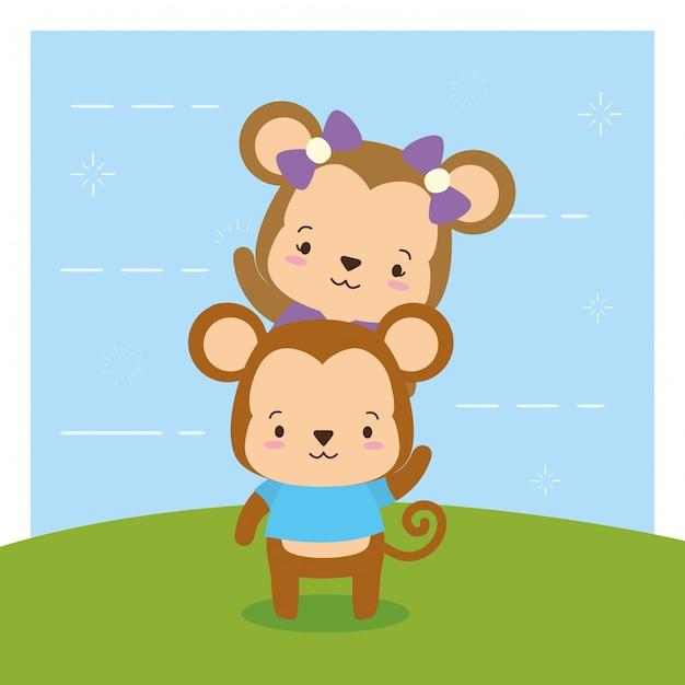 Scimmie su natura, animali svegli, stile piano e fumetto, illustrazione Vettore gratuito