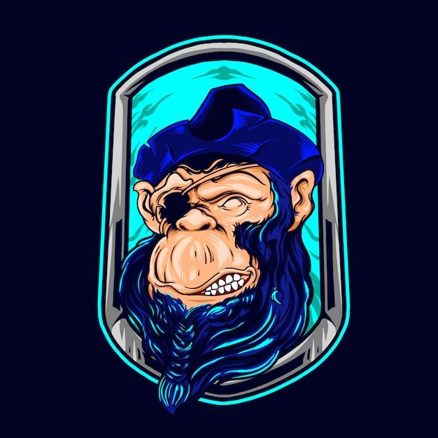 Scimpanzé dell'illustrazione dei pirati Vettore Premium