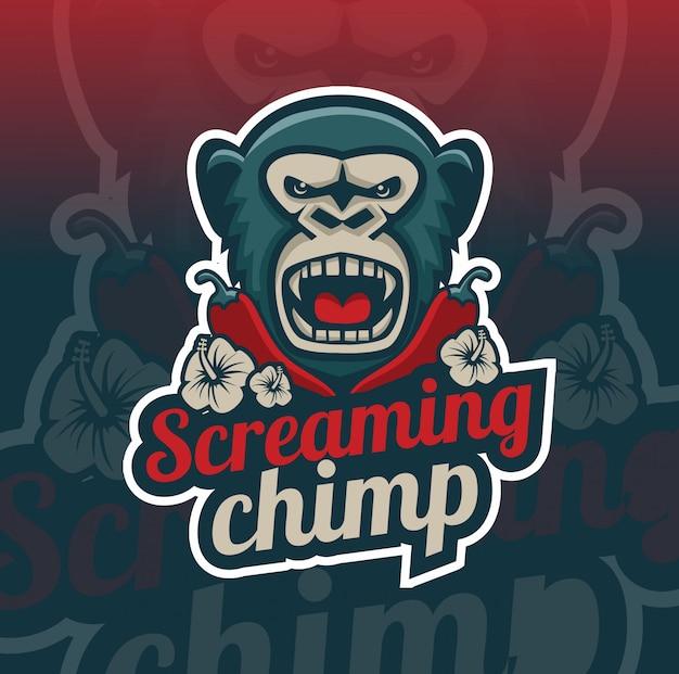 Scimpanzé urlante con disegno logo mascotte peperoncino Vettore Premium