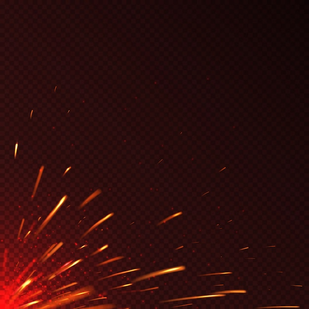 Scintille di fuoco rosso incandescente isolato sfondo vettoriale. illustrazione dell'illustrazione ardente luminosa della scintilla Vettore Premium