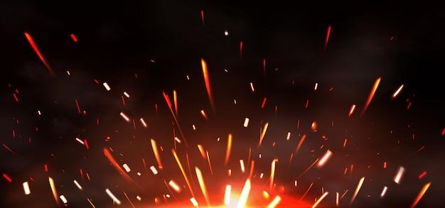 Scintille di saldatura di metalli, fuoco che brucia Vettore gratuito