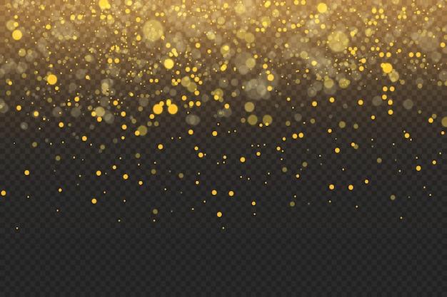Scintille dorate e stelle dorate brillano con uno speciale effetto di luce Vettore Premium