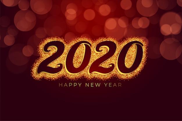Scintillio di felice anno nuovo rosso e oro Vettore gratuito