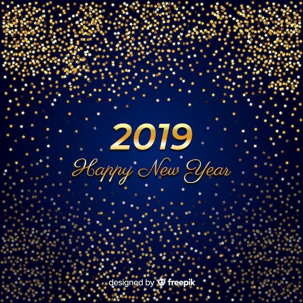 Scintillio dorato anno nuovo sfondo Vettore gratuito