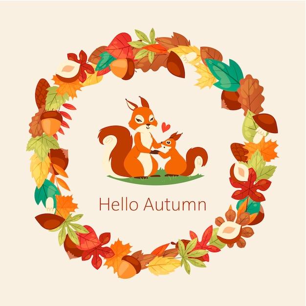 Scoiattoli circondavano foglie di autunno, rami ghiande, noci e funghi Vettore Premium