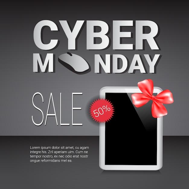 Sconti sul banner del modello di vendita del cyber monday su moderni tablet digitali Vettore Premium