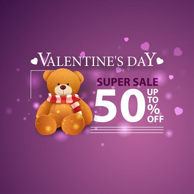 Sconto bandiera viola per san valentino con orsacchiotto Vettore Premium