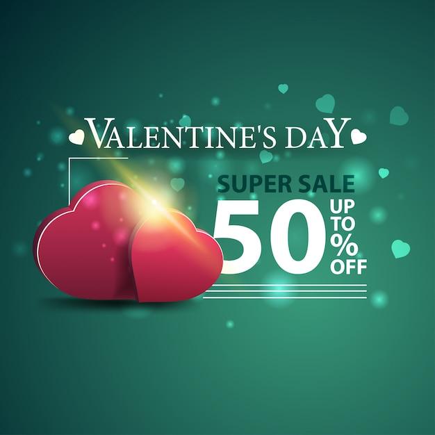 Sconto banner verde per san valentino con due cuori Vettore Premium