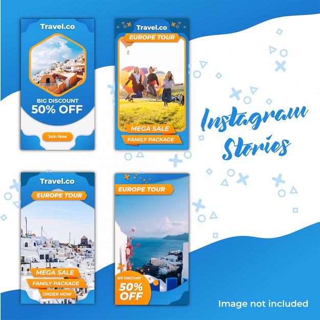 Sconto su instagram stories travel Vettore Premium
