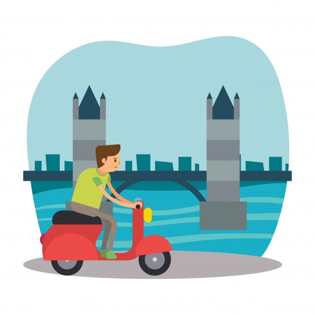 scooter, corridore, viaggio, londra, ponte, inghilterra, carattere, cartone animato Vettore Premium