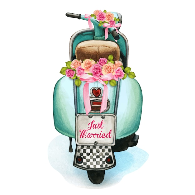 Scooter matrimonio acquerello con decorazioni floreali Vettore Premium