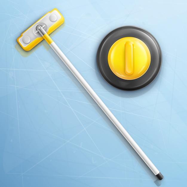 Scopa e pietra per il gioco di curling Vettore gratuito