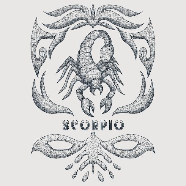 Scorpione zodiaco vintage Vettore Premium