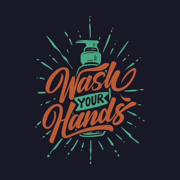Scritte a mano lavarsi le mani contro il sapone Vettore Premium