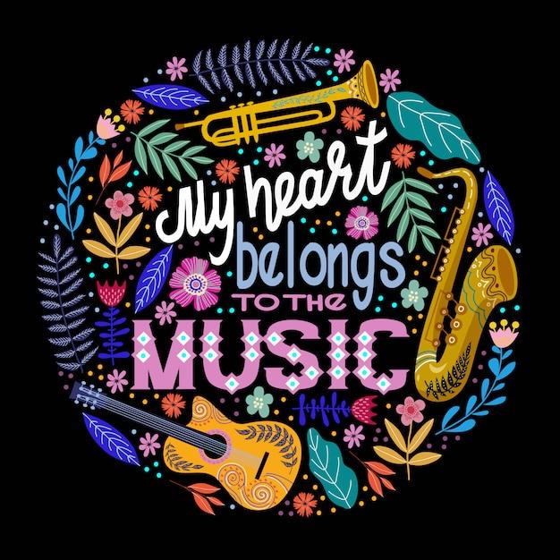 Scritte con strumenti musicali e fiori Vettore Premium