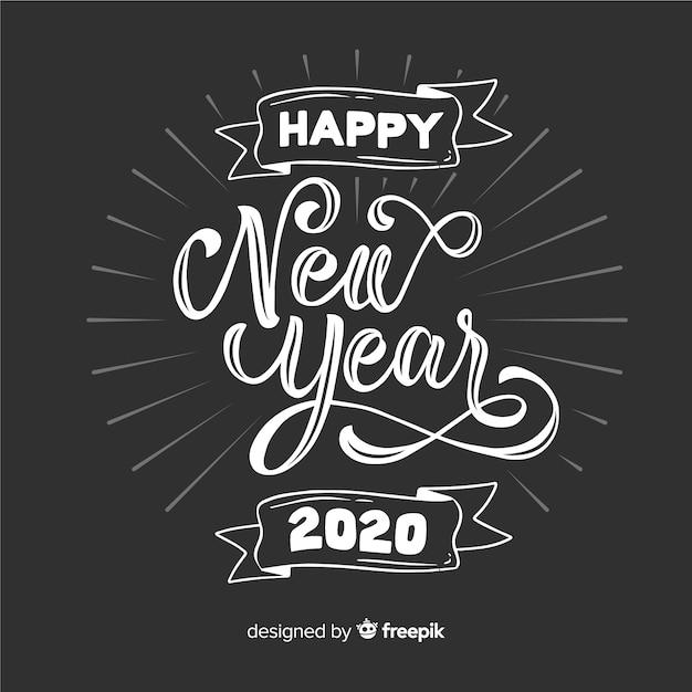 Scritte d'epoca felice anno nuovo 2020 Vettore gratuito