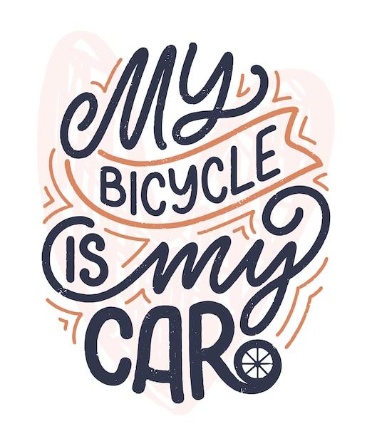 Scritte scritte sulla bicicletta per poster, stampe e design di t-shirt. salva la citazione della natura. illustrazione vettoriale Vettore Premium