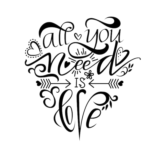 Scritte uniche a pennello che ti servono solo l'amore Vettore Premium