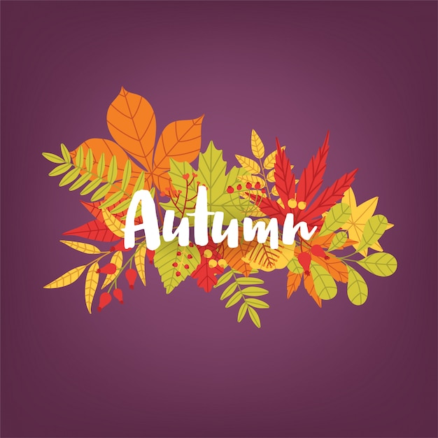 Scritto a mano parola calligrafica autunno contro il mazzo di foglie e rami di alberi caduti colorati. splendide scritte e fogliame dai colori vivaci. illustrazione vettoriale stagionale naturale. Vettore Premium
